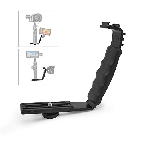 L Bracket Camera Mount, Flash Bracket with 2 Hot Shoe Mounts for Gimbal Stabilizer DSLR Camera Camcorder Video Light Microphone …
