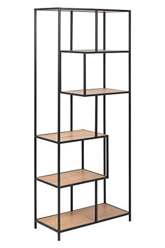 Designregal Standregal Bücherregal | 6 Fächer | Schwarz | Metall | Holzoptik Wildeiche | BxHxT: 77x185x35 cm
