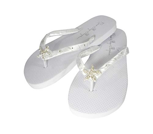 Flip Flops with Rhinestone Starfish Bling & Crystal Accented Satin Straps (7) White