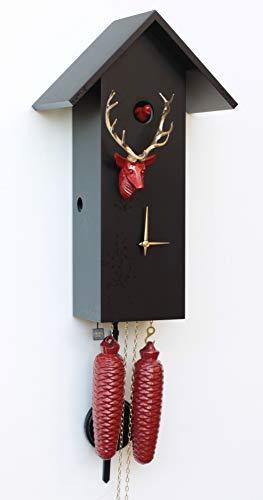 Rombach und Haas Moderne Kuckucksuhr Vogelhaus Simple Line schwarz/rot/Gold mit Hirschkopf 8-Tagewerk 41 cm