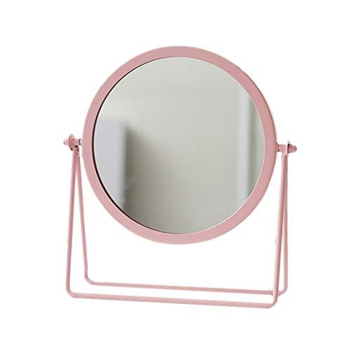 Moligh doll MéTal Miroir DéCoratif Dame Bureau Miroir de Maquillage 360 ℃ Forme Ronde Miroir de Courtoisie Miroirs RéTro-éClairéS (Rose)