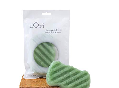 NORI Esponja Konjac Corporal Té verde / KONJAC SPONGE NATURAL / Para todo tipo de piel /Limpia y exfolia a profundidad tu piel / Recobra la luminosidad natural y la belleza de tu...