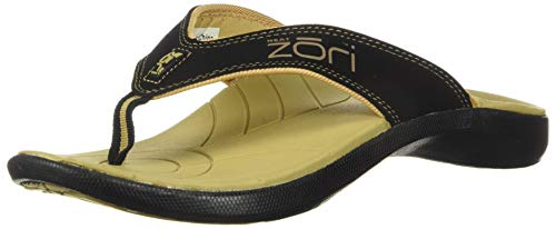 Neat Feat Men's Zori Sport Orthotic Slip-on Sandals Flip Flop, Black/Tan, 10 D US