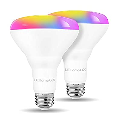 LE LampUX BR30 E26 WiFi Smart Light Bulbs Alexa Google Home Compatible, RGBW Color Changing/Tunable White (Warm to Daylight), 9W=65W, Dimmable Recessed Flood Can Light Bulbs, No Hub Required, 2 Packs