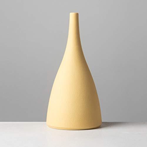Nice vase Jarrón nórdico del Estilo del Arte Fresca pequeña de cerámica decoración del hogar jarrón Decorativo (Color : Amarillo)