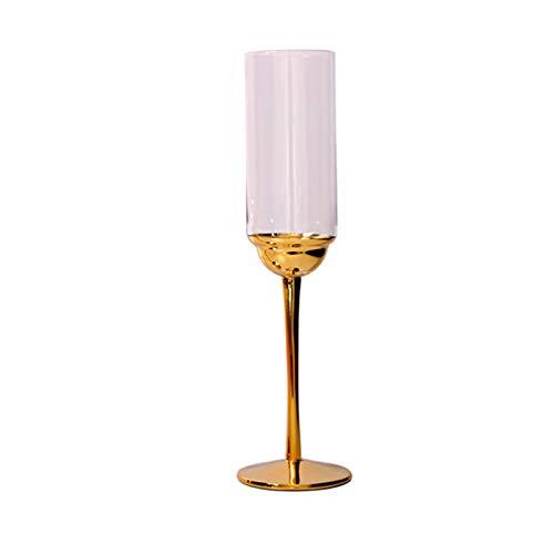 XZZFD Copas De Champán Soplado A Mano Vidrio Copas De Vino,Elegante Copa De Champán para Partido Boda Sra Hombres Moderno Transparente Copas De Cava Fácil De Limpiar-B Dorado