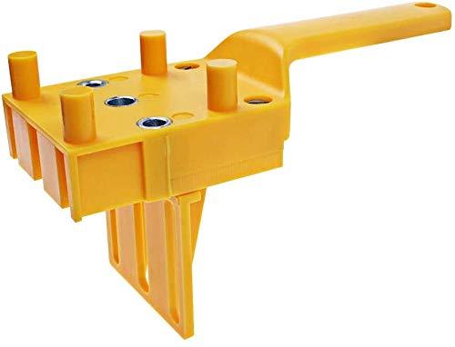 HiCollie タボ継ぎ用ジグ ハンドヘルド 6mm 8mm 10mm ホールソー ドリルガイド 適する ダウエル ドリル 木工DIYジグ工具 (イエロー)