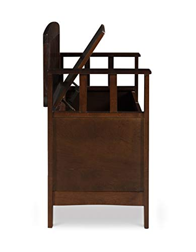 "Product Image 9: Linon Home Dcor Linon Home Decor Cynthia Storage Bench, 50""w x 17.25″d x 32″h, Walnut"