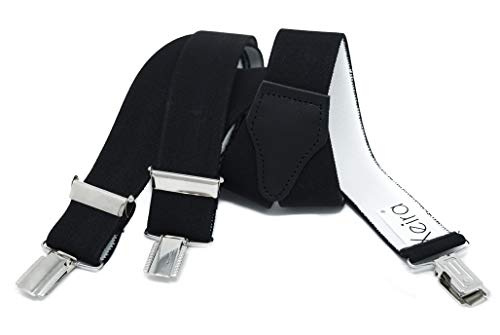 Xeira Hosenträger für Damen stabilen 3 Clips und echt Leder Rückenteil (110cm, Schwarz)