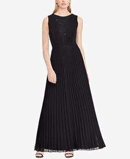 RALPH LAUREN Womens Black Pleated Chiffon Gown Sleeveless Jewel Neck Full-Length Evening Dress US Size: 10
