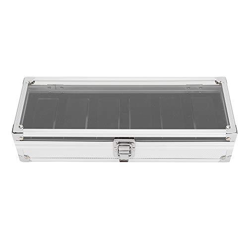 DAUERHAFT Uhrenspeicherbox mit transparentem Deckel, 6 Steckplätzen, Behälterhalter für Organizergehäuse, einfach und kompakt, eleganter Ausblick, zur Aufbewahrung von Uhren, 12 x 4,5 x 2,4 Zoll.