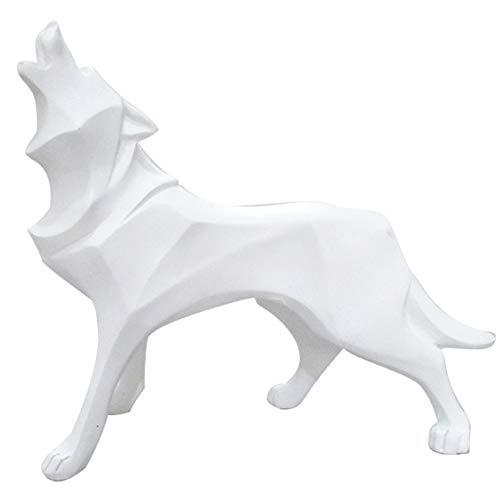 LaLa POP Tierharzhandwerksstudienschlafzimmerausgangstotemwolf-Hundesimulations-Kunstdekoration (Color : White)