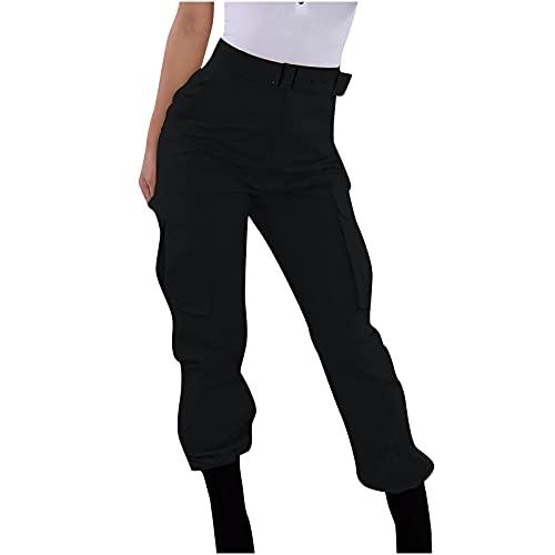 JWJW Damen Jogginghose 3/4 Hose Jogger Laufhose Lounge Loose Fit Kordelzug Taille Capri Trainingshose mit Seitentaschen