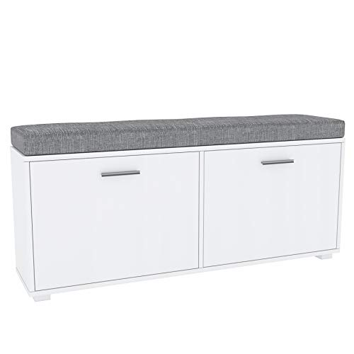 GLmeble: Scarpiera con seduta Scarpiera bianca – unità organizzativa, facile da montare, salvaspazio, per ingresso e camera da letto Due armadi bianchi