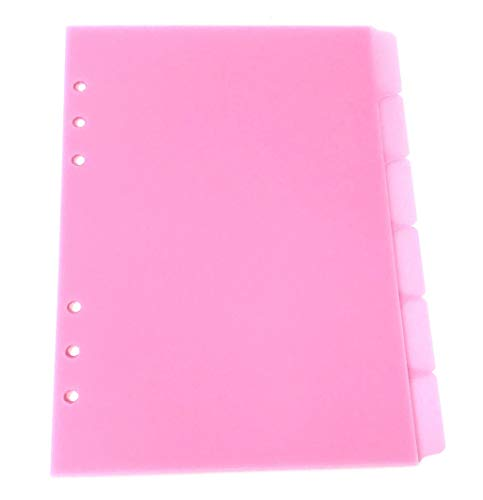 A5 Filofax Tab Divider Inserts, Set of 6 Punched Ready for The A5 Filofax Style Planner, Made from 500 Micron Polypropylene - Pink A5