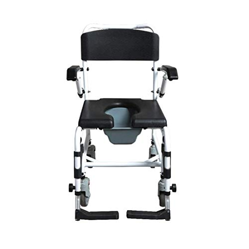 Lowest Prices! ZWJ-Shower Chair Multi-Function Commode Chair with Wheels - Bedside Commode Chair for...