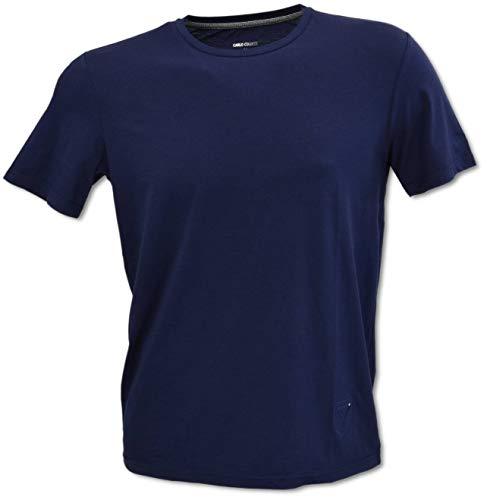 Carlo Colucci Rundhals T-Shirt mit Logo Stickerei, Navy Navy L