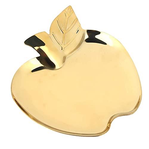 BFDMY Bandeja Decorativa Dorada, Bandeja para Toallas Bandeja para Joyas Bandeja para baratijas con Forma de Manzanas Organizador de Joyas de Acero Inoxidable, 5.5 x 4.9 Pulgadas