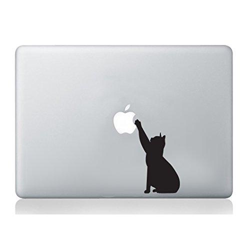 Vinilo adhesivo para portátil MacBook, diseño de silueta de gato