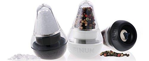Finum mini LOOK TOUCH TASTE Gewürzmühlen - Set mit Keramikmahlwerk - Salzmühle & Pfeffermühle mit Tablett - Mühle für Salz & Pfeffer - Gewürz Menagen