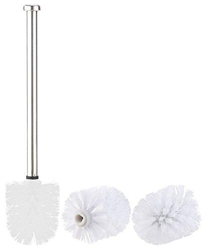 BadeStern Zubehör zu WC Garnitur: WC-Bürste mit Edelstahl-Stiel und 3 Aufsätzen mit Ø 7 cm, weiß (WC Ersatzbürste mit Stiel)