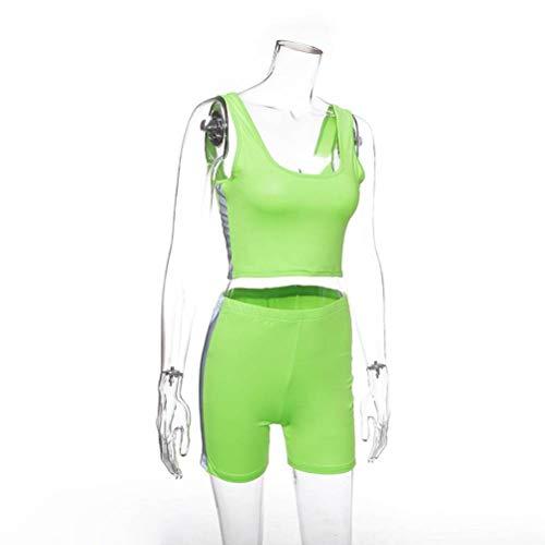 Justtime vest hoge taille dunne shorts straat reflecterende strepen pak vrouwen Large groen