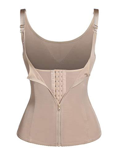 Ekouaer Women Waist Trainer Shapewear Zipper & Hook Body Shaper Vest Neoprene Sweat Corset for Tummy Control(Beige,4XL