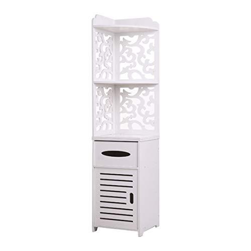 DOLMER (11.8 x 11.8 x 47.2) Pattern Carved Bathroom Corner Shelf Stylish Bathroom Cabinet,Narrow Bath Sink Organizer,Towel Storage Shelf for Paper Holder