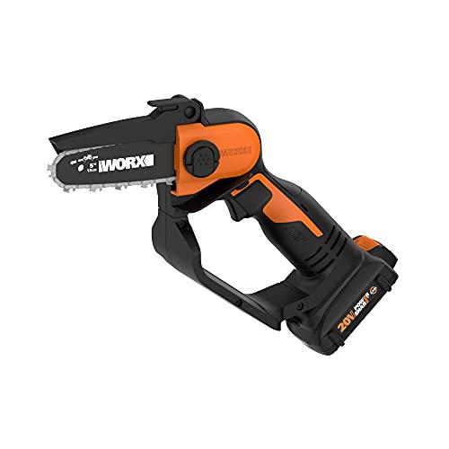 "WORX WG324 20V Power Share 5"" Cordless Pruning Saw, Black and Orange"