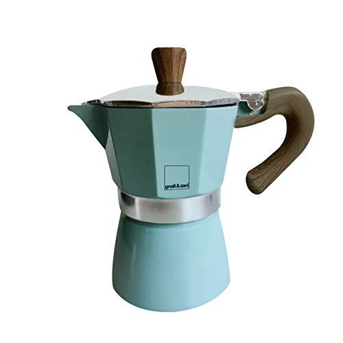 Gnali & Zani VEZ003/IND - Hervidor de vino, tazas y cafetera espresso, aluminio, verde menta, 6 tazas