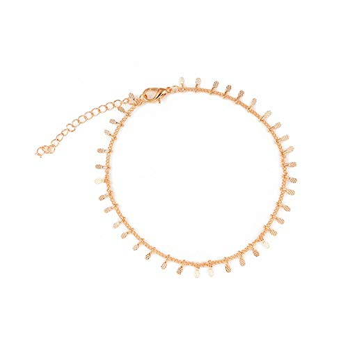 AueDsa Alloy Anklet Chain Women Oval Women Anklet Gold
