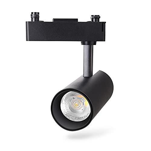 Aigostar - Foco de carril LED Bifásico Negro, 15W, 4000K luz neutra, 1200lm, ángulo de haz de 24 °. Focos giratorios para interiores. Uso profesional: tiendas, galerías etc. o vivienda particular.