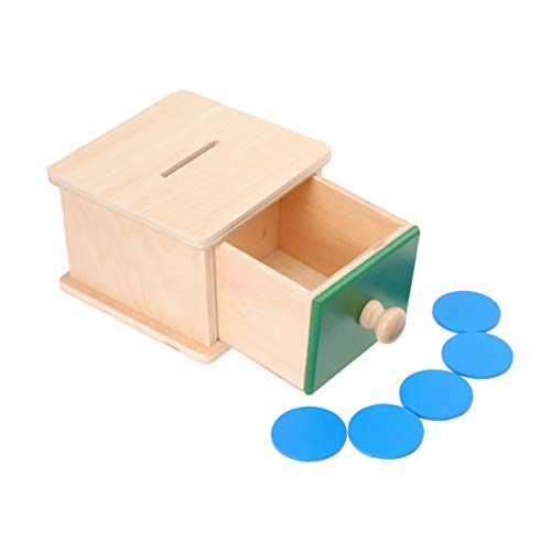 Toddmomy 1 Pieza Montessori Caja de Monedas para Bebés Juguetes de Coordinación de Ojos de Mano de Madera Juguetes de Aprendizaje para Niños Pequeños 1-3 (Estilo de Cajas de Monedas)