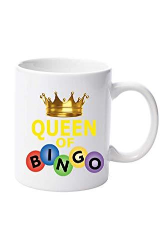 Queen of Bingo - Taza de cerámica de 325 ml, regalo de Navidad, cumpleaños, día del padre, día de la madre