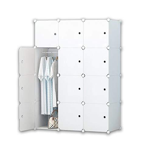 iBlockCube DIY Tragbarer Kleiderschrank, modularer Aufbewahrungs-Organizer, platzsparender Armoire, tiefer Würfel mit Hängestange, 12 Würfel, 12 Cubes