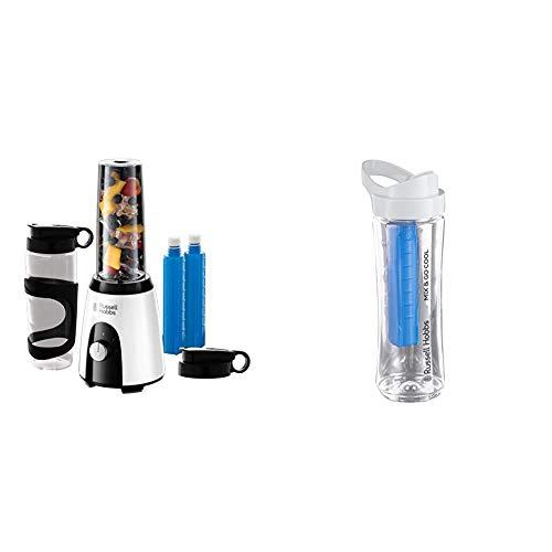 Russell Hobbs 25161-56 Horizon Mix & Go Boost - Batidora de Vaso Individual (400 W, Sin BPA, 2 Vasos de 600 ml) + Vaso para Batidora Pequeña (0,6l, Transparente, con Tubo Refrigerador y Tapa)