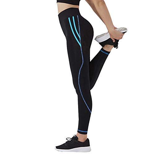 GoVIA Damen Sporthose Training Leggings Laufhose streche elastische Fitness Yoga Leggings 4111 Hellblau XS/S