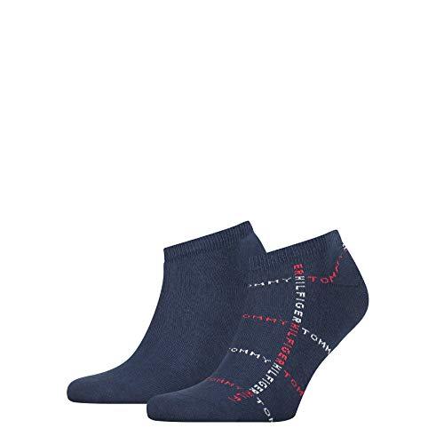Tommy Hilfiger Grid Men's Sneaker-Trainer Socks (2 Pack) Calcetines, Marca: Tommy Original, 39-42 para Hombre