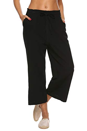 LNX Womens Casual Cotton Linen Baggy Pants with Elastic Waist Relax Fit Trouser Black