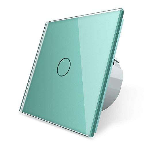 LIVOLO groene serie lichtschakelaar stopcontacten glazen afdekking Touch voor kinderkamer kleurrijk groene lichtschakelaar wandschakelaar glazen frame glazen frame Radiografische schakelaar 1 vak VL-C701R-18 groen
