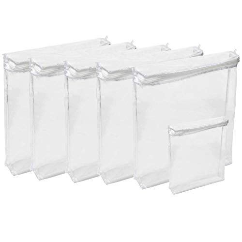 "Houseables Plastic Storage Bags, Zipper Case, 18""x15""x4"", 6 Pack, BONUS Size 10""x9""x2"", Clear, Vinyl, Moth Proof, for Blanket, Linen, Sweater, Bed Sheet, Quilt, Clothes, Pillow, Comforter, Foldable"