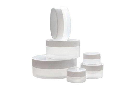 Lot de 6 flacons de voyage portables transparents 3 ml/5 ml/10 ml/30 ml/50 ml/100 ml rechargeables, plastique, transparent, petit échantillon, avec couvercle à vis blanc crème
