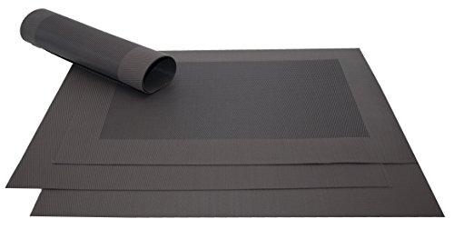 ZOLLNER 4er Set Tischset, 32x47cm, schwarz (mehrere Farben), hitzebeständig, PVC