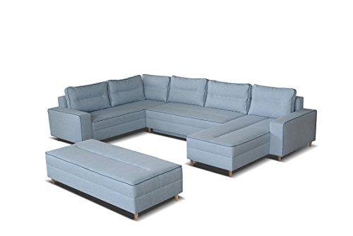 mb-moebel Ecksofa Eckcouch mit Bettkästen mit Schlaffunktion Couch Wohnlandschaft U-Form Polsterecke Blau LACO I mit HOCKER (Ecksofa Links)