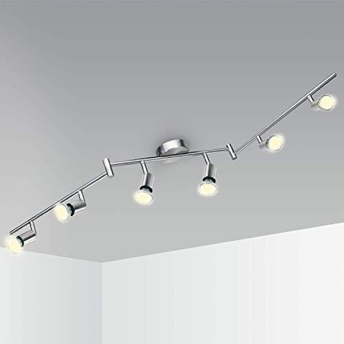 Faretti LED da Soffitto Orientabile Kimjo, Lampada da Soffitto con 6 x 6W LED GU10 Bianco Caldo 2800K Pari a 54W, Plafoniera LED 550LM 82Ra Nickel Matte per Camera Salotto Cucina