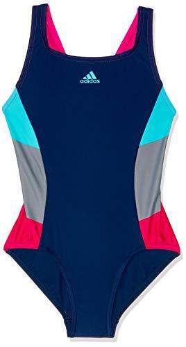 adidas adidas Mädchen Colorblocking Badeanzug, Dark Blue/Bright Cyan, 116