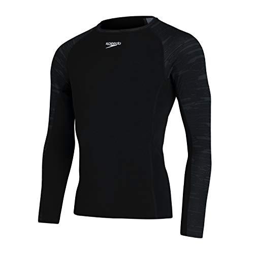 Speedo - Camiseta Deportiva de Manga Larga para Hombre, Hombre, 8132179023, Noir/Gris Oxyde, Large