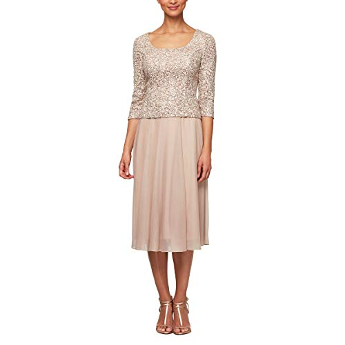 Alex Evenings Women's Sequin Lace Mock Dress (Petite and Regular), Champagne/Ivory, 6 (Apparel)