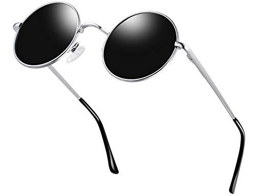 KANASTAL Gafas de Sol Hombre y Mujer Polarizadas Redondas Hippie Steampunk Vintage John Lennon Gafas de Sol con 100% Protección UV400(Negro Plata)