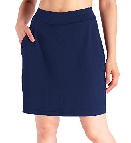 "Yogipace Women's 4 Pockets UV Protection 17"" Long Tennis Running Skirt Athletic Golf Skort Anytime Casual Skort Navy Blue Size L"